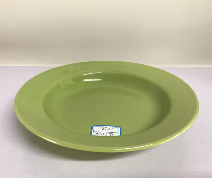 Color Dish Plate Kitchen Ceramic Bowls Dinner Set Green Round OEM ODM Available