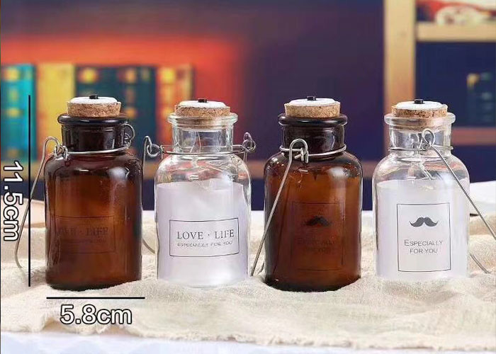Cork And Iron Handle Glass Candle Jars For Light Bulb / Brown Glass Container